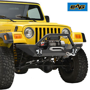Eag Front Bumper W Winch Plate Rock Crawler Fit 87 06 Jeep Wrangler Tj Yj
