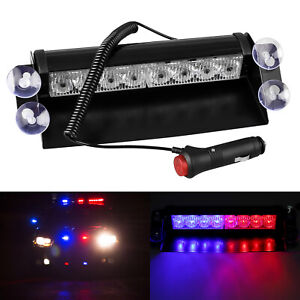 8 Led Car Dash Emergency Strobe Flash Light Bar Police Warning Lamp Red Blue 12v