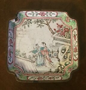 Antique Chinese Export Enamel On Copper Dish Plate Low Bowl 18th Century