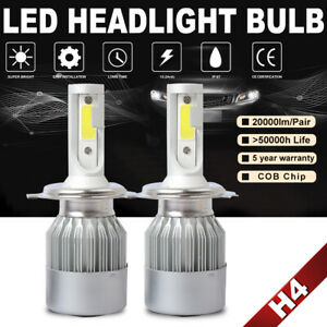 1pair H4 Hb2 9003 Led Headlight High Low Beam Bulbs 100w 20000lm 6000k