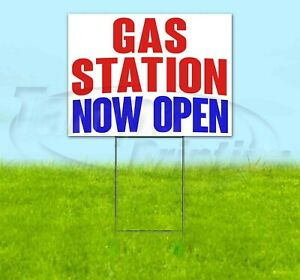 Gas Station Now Open Yard Sign Corrugated Plastic Bandit Lawn Decorations