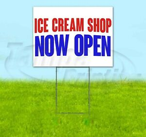 Ice Cream Shop Now Open Yard Sign Corrugated Plastic Bandit Lawn Decorations