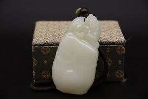 Estate Old House Found Chinese Antique Carved White Hetian Jade Pendant