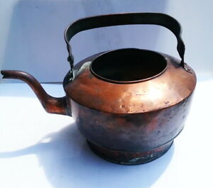 Antique 18th Century Hammered Copper Goose Neck Tea Kettle Dovetail Joint