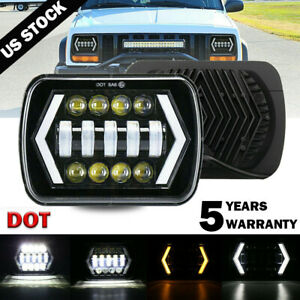 7x6 Led Headlight Hi lo Halo Drl For Chevy Express Cargo Van 1500 2500 3500