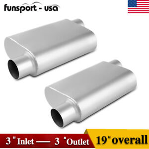 Pair Of 3 Offset Inlet Outlet Muffler 3 Chamber Performance Race Resonator