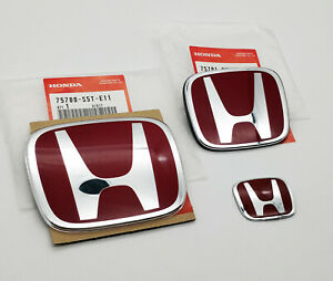Jdm 3pcs Red H Front Rear Badge Emblem For Civic 2dr Coupe Dx Ex Lx 2006 2011