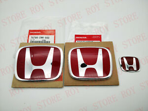 Jdm 3pcs Red H Front Rear Badge Emblem For Civic 2dr Coupe 2012 2013