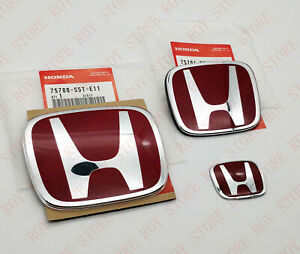 3pcs Red Chrome H Front Rear Steering Badge Emblem For Accord Sedan 2008 2017