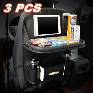 3pcs Car Back Seat Organizer With Foldable Table Tray Pu Leather Storage Pockets