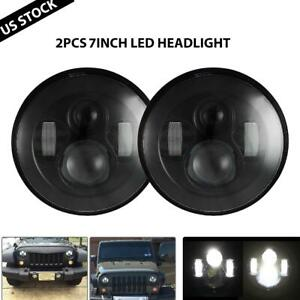 Pair 7 Inch 90w Round Black Led Headlights Hi lo Beam Fit For Offroad Jeep Ford