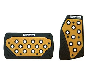 Black And Yellow Universal Sports Pedal Pad Non Slip Automatic Car Neutron Style
