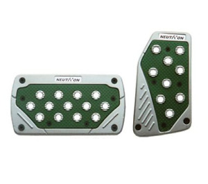 Silver And Green Universal Sports Pedal Pad Non Slip Automatic Car Neutron Style