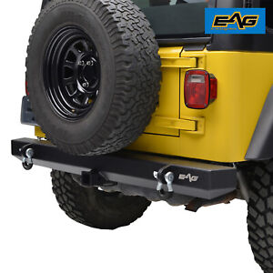 Eag Rear Bumper With 2 Hitch Receiver Off Road Fit 87 06 Jeep Wrangler Yj Tj