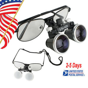 Usa Dental Loupes For Surgical Binocular 3 5x420mm Optical Glass Lens 80mm Depth