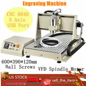 5 Axis 1 5kw 6040 Cnc Router Engraver Engraving Machine Metal Carving Ball Screw