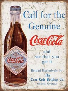Reproduction Vintage Looking Coca Cola 9x12 Aluminum Sign Distressed Looking