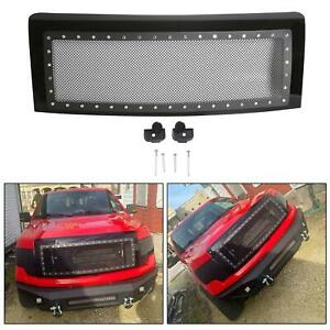 Fits 09 14 Ford F150 Stainless Mesh Rivet Upper Front Hood Grille W shell