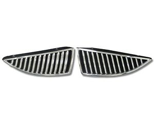 Fits 2004 2007 Mitsubishi Lancer 2 Piece Chrome Vertical Front Abs Grill Inserts