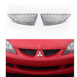 Fits 2004 2007 Mitsubishi Lancer 2 Piece Chrome Mesh Front Abs Grille Inserts