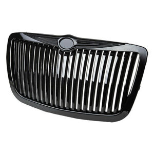 Fits 2005 2008 Chrysler 300 300c Glossy Black Abs Vertical Replacement Grille