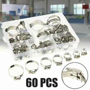 60x Automotive Stainless Steel Hose Pipes Hoop Strong Hose Clamps Kit Set