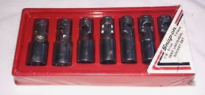 Snap on 7 Pc 3 8 Dr Sae 6 point Deep Universal Socket Set 207fsu new