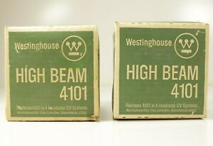 Pair 2 Vintage Westinghouse High Beam 4101 Super Beam 12 V Head Lamps Nos