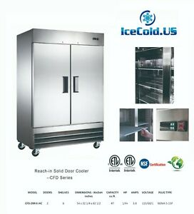 Reach in Solid 2 Door Commercial Refrigerator Stainless Cooler Local Pickup Only