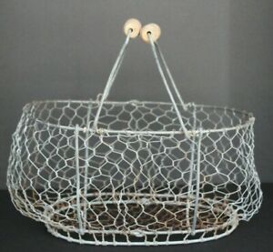 Egg Basket Wood Handles Wired Farmhouse Primitive Vintage Antique