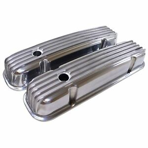 Pontiac 350 455 Retro Finned Polished Aluminum Valve Covers 326 389 400 421 V8
