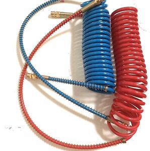 15 40 Red And Blue Coil Coiled Air Line Hose Trailer Brake 1 2 Fittings