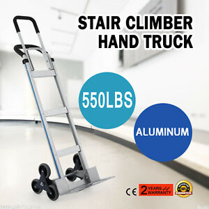 Foldable 2 In 1 Aluminum Hand Truck Dolly Cart 550lbs Climber Stair Convertible