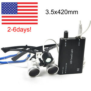 Sale Black Dental Loupes3 5x420mm Surgical Medical Binocular Led Head Light Lamp