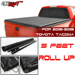 Fits 16 19 Toyota Tacoma Soft Roll up Tonneau Cover Crew Cab 5ft Bed W Lock