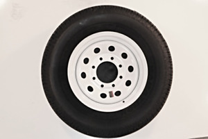 16 White Mod Trailer Wheel 8 Lug With Radial St235 80r16 Tire Mounted 8x6 5 B