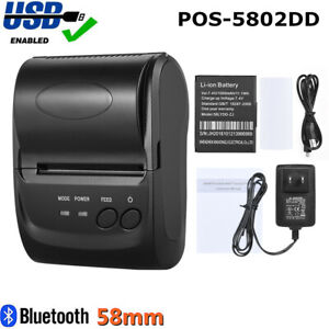 Portable 58mm Thermal Printer Bt Receipt Pos For Windows Android Ios Mobile J0v5