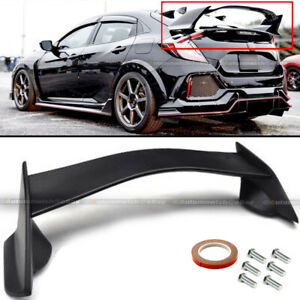 Fits 17 18 19 Civic 10th X Hatchback Type R Flat Matte Black Trunk Wing Spoiler