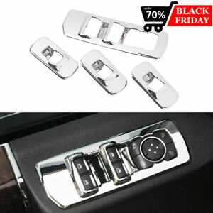 For 2015 2018 Ford F150 Accessories Window Lift Switch Panel Chrome Cover Trims