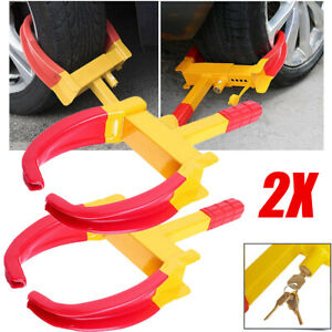 2x Wheel Tire Boot Lock Clamp Claw For Car Boat Truck Trailer Anti Theft 8 Holes