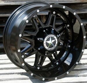 20 Gloss Black Lonestar Outlaw Wheels 20x10 8x170 25 Ford F250 F350 Excursion