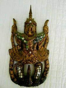 Wood Carving Statute Garuda Bird Southeast Asia Gilt Jeweled Antique 20th Cent