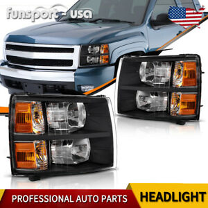 For 2007 2014 Chevy Silverado 1500 2500 Hd Black Headlights Headlamps Left right