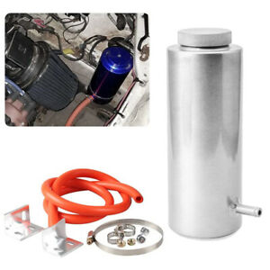800ml Aluminum Radiator Fluid Coolant Overflow Catch Tank Reservoir Kit Silver