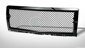 For 2014 2015 Chevy Silverado 1500 Glossy Black Mesh Front Bumper Grill Grille