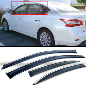 Fit 13 17 Sentra Black Tinted Chrome Trim Window Visor Vent Shade Sun Rain Guard