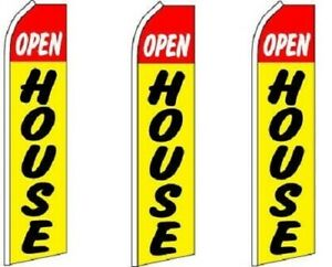 Open House yellow King Size Swooper Flag Pack Of 3 hardware Not Included