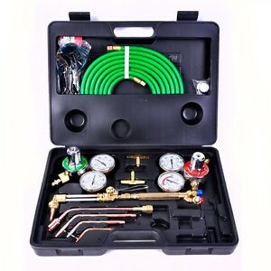 Gas Welding Cutting Kit Oxy Acetylene Oxygen Torch Brazing Fits Victor With Hose