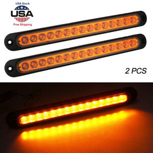 2pcs 15led Car Truck Drl Light Bar Brake Rear Turn Signal Stop Tail Strip Amber