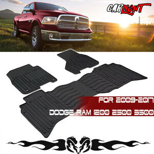 Rubber Car Floor Mats For Any Weather Fit 2009 2017 Dodge Ram 1500 2500 3 Pcs